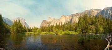 Yosemite Valley panorama. Merced River meadows panorama, Yosemite Valley, Yosemite National Park, California, USA Stock Photography