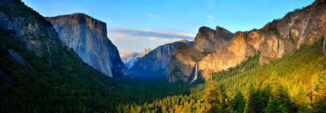Yosemite Valley Panorama. The Yosemite Valley at Sunset, as seen from Tunnel View - panorama Stock Images