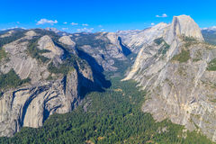 Yosemite Valley Panorama with Half Dome Stock Photos