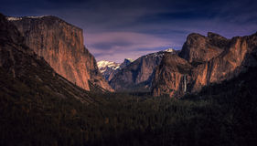 Yosemite Valley Panoramic View, Yosemite National Park, California. The tunnel view area in Yosemite National Park, pictures the full scale of the valley and the stock photo