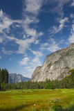 Yosemite Valley. This is a photo of a field in Yosemite Valley looking out towards El Capitan Stock Image