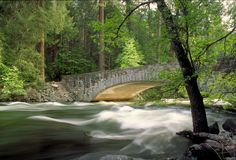 Yosemite Valley Stone Bridge. Stone arch bridge over the Merced River with time-smoothed flowing water and blooming dogwoods behind the bridge. Taken in Yosemite Stock Photography