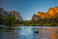 Yosemite Valley at Sunset Stock Photo