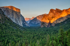 Yosemite valley at sunset from tunnel view Stock Images