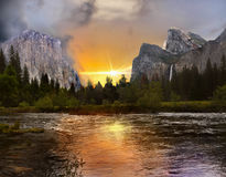 Yosemite Valley Sunset View. Sunset view - Yosemite Mountains Valley and Merced River. California Stock Photography