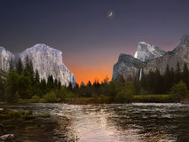 Yosemite Valley Sunrise View Royalty Free Stock Image