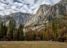 Yosemite Valley with Upper Yosemite Falls during winter - Yosemite National Park, California, USA Stock Photography
