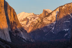 Yosemite Valley in Winter at sunset Stock Photos