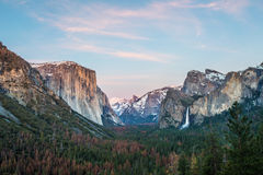 Yosemite Valley in Winter at sunset Royalty Free Stock Photography