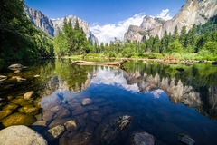 Yosemite Vally. This is a picture taken from the beautiful Yosemite Valley in California featuring the Yosemite Merced River and El Capitan Royalty Free Stock Image