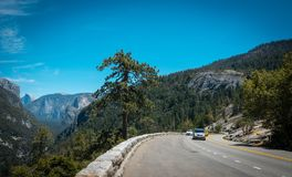 Summer car tour of the US natural parks. Scenic view of the Yosemite Valley Stock Photo