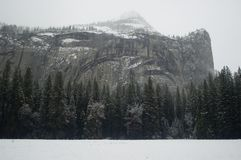 Yosemite Walls in  Winter. Breathtaking view of Yosemite walls in the National Park in the winter snow Royalty Free Stock Photo