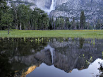 Yosemite waterfall reflection Stock Photos
