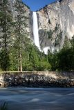 Yosemite Waterfall and River. Merced River and Bridaveil Falls in Yosemite National Park, California, U.S.A Royalty Free Stock Photography