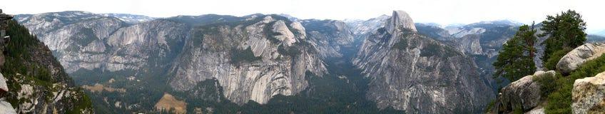 Yosemite wide panorama. Yosemite National Park wide panoramic view from Glacier point (California, USA Stock Photos