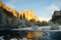 Yosemite in winter. Yosemite valley at sunset with golden rays of sunlight on El Capitan and beautiful reflection from the Merced river in winter Royalty Free Stock Photo