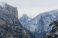 Yosemite in Winter. El Capitan and Half Dome in Yosemite Valley Royalty Free Stock Image