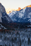 Yosemite Winter. Yosemite National Park tunnel view in winter Royalty Free Stock Photography