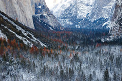 Yosemite Winter. Yosemite National Park tunnel view in winter Royalty Free Stock Image