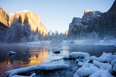 Yosemite Winter. Yosemite National Park valley view in winter Royalty Free Stock Images