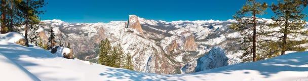 Yosemite Winter Scene at Glacier Point. Amazingly deep Yosemite winter scene at Glacier Point with Nevada and Vernal Falls royalty free stock photo