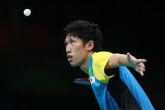 Yoshimura Maharu playing table tennis at the Olympic Games in Rio 2016. Stock Image