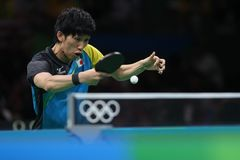 Yoshimura Maharu playing table tennis at the Olympic Games in Rio 2016. Stock Photography