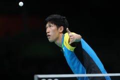 Yoshimura Maharu playing table tennis at the Olympic Games in Rio 2016. Yoshimura Maharu from Japan playing table tennis at the Olympic Games in Rio 2016 Stock Photos