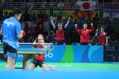 Yoshimura Maharu playing table tennis at the Olympic Games in Rio 2016. Stock Photos
