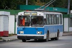 Photo ZiU-682 is a Soviet Russian high-floor trolley bus. Yoshkar-Ola, Russia - August 2, 2016 Photo ZiU-682 is a Soviet Russian high-floor trolley bus of large royalty free stock photography