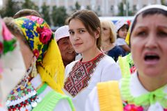 Peledysh payrem. Yoshkar-Ola, Russia - June 25, 2016 Women in national Mari dresses at the Peledysh Payrem holiday in Yoshkar-Ola, Russia Stock Photos