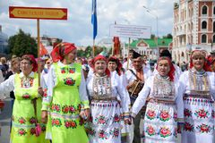 Peledysh payrem. Yoshkar-Ola, Russia - June 25, 2016 Women in national Mari dresses at the Peledysh Payrem holiday in Yoshkar-Ola, Russia Royalty Free Stock Images