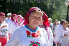 Peledysh payrem. Yoshkar-Ola, Russia - June 25, 2016 Women in national Mari dresses at the Peledysh Payrem holiday in Yoshkar-Ola, Russia Royalty Free Stock Photos