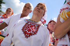 Peledysh payrem. Yoshkar-Ola, Russia - June 25, 2016 Women in national Mari dresses at the Peledysh Payrem holiday in Yoshkar-Ola, Russia Stock Images