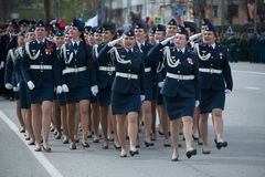 Marching girls of the armed forces. Yoshkar-Ola, Russia - May 4, 2017 Marching girls of the armed forces of Russia at the military parade Stock Images