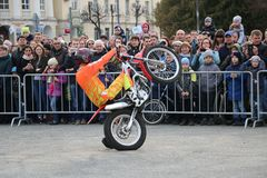 YOSHKAR-OLA, RUSSIA - MAY 5, 2018: Motoshow in the central square of the city. Tricks on a motorcycle, stuntmen, Stunt Riding. YOSHKAR-OLA, RUSSIA - MAY 5, 2018 Royalty Free Stock Images