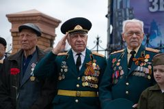 Veterans of the Second World War. Yoshkar-Ola, Russia - May 9, 2017 Veterans of the Second World War during the Victory Day parade royalty free stock images