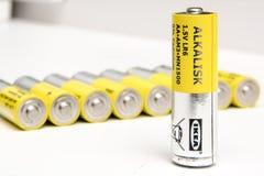 Ikea alkalisk alkaline batteries AAA size. Yoshkar-Ola, Russia - September 16, 2018 : Ikea alkalisk alkaline batteries AAA size. Batteries can be used for all stock image