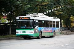 Trolza Optima trolleybus. YOSHKAR-OLA, RUSSIA - sEPTEMBER 21, 2018:Trolza Optima trolleybus at the city street stock photo