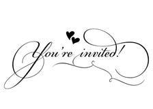 You're convidou! Caligrafia feito a mão do vetor com pirueta Foto de Stock