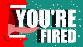 You& x27 επαν που βάζεται φωτιά Κόκκινες κύριες κραυγές απόλυση Ο 0 διευθυντής φωνάζει το φ Στοκ Εικόνες