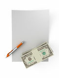 For you. White empty leaf of paper. Money stacks. Pen. Isolated stock illustration