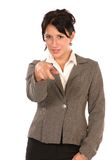 You!. Young business woman pointing at you, isolated on white Stock Image
