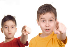 You!. Young teenagers pointing at camera stock image
