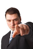 You!. Close up portrait of young confident business man pointing to you isolated on white background Royalty Free Stock Image