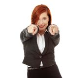 You. Confident business woman gesturing You, isolated on white background Royalty Free Stock Image
