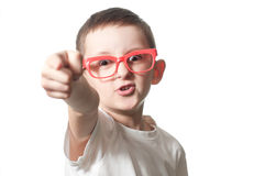 You... Aggressive boy with glasses points his finger Royalty Free Stock Photo