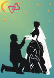 Only you. Illustration with wedding couple silhouette isolated on white background Stock Images