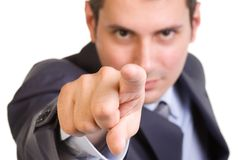 You!. Young caucasian man in a suite, pointing at camera Stock Images