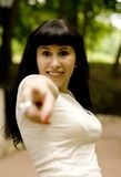 You!. Outdoor portrait of attractive young woman pointing her finger Stock Photography